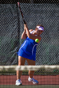 Bexley High School's  Maddie Morton in action while playing against Dublin Coffman High School's tennis team Wednesday afternoon September 2, 2009 at Dublin Coffman High School. (Photo by James D. DeCamp 614-462-8027)