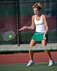 Dublin Coffman High School's Jenny Litteral in action while playing against Bexley High School's tennis team Wednesday afternoon September 2, 2009 at Dublin Coffman High School. (Photo by James D. DeCamp 614-462-8027)