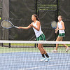 Nashoba's Victoria Wang, front, and Sophia Duros compete in first doubles action. SENTINEL & ENTERPRISE / SCOTT LAPRADE