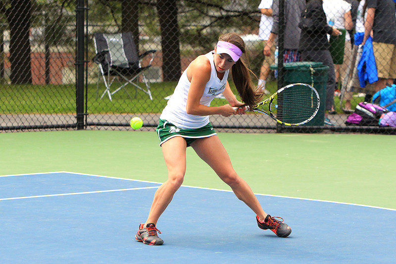 Nashoba Regional's Jillian Winer lines up the ball during her first singles match in Wednesday's 3-2 loss to Shrewsbury in the Central Mass. Division 1 championship game at St. John's in Shrewsbury. SENTINEL & ENTERPRISE / SCOTT LAPRADE
