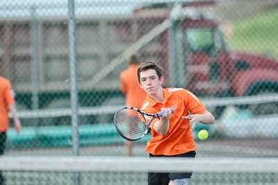 Danville's Aidan Kennedy hits a volley during his first singles match against South Williamsport's McGwire Molino on Monday.