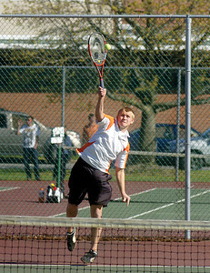 Danville's Zach Raker serves during the No. 2 doubles match against Selinsgrove on Wednesday afternoon.