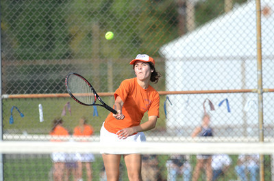 Danville's second singles player Katarine Baum hits a shot during her match against Shikellamy's Bethany Deppen on Monday.