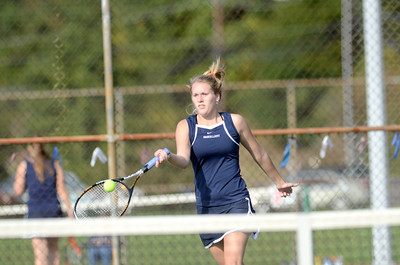 Shikellamy's second singles player Bethany Deppen hits a forehand in her match against Danville's Katarine Baum on Monday.