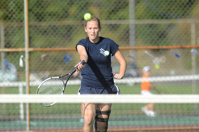 Shikellamy first singles player Tiara Bartol chases down the ball during her match against Danville's Kiona Robbins on Monday.