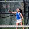 Leominster's Julia DeAmicis during the match against Fitchburg High on Wednesday afternoon. SENTINEL & ENTERPRISE / Ashley Green