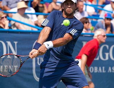 Fernando Verdasco returns against Marco Baghdatis in quarterfinal action at the $1.402 million Legg Mason Tennis Classic, a hardcourt U.S. Open Series event in Washington DC on August 6, 2010. The third seed Verdasco (Spain) was ousted, losing 7-6 (7/3) 6-4 to Baghdatis (Cyprus), the eighth seed. (Photo by Jeff Malet)
