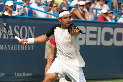 Marcos Baghdatis hits a forehand during the title match in the Legg Mason Tennis Classic. David Nalbandian of Argentina, ranked 117th, beat eighth-seeded Baghdatis of Cyprus, 6-2, 7-6 (4), Sunday, August 8 in Washington DC, becoming the first player ranked outside the top 100 to win an ATP title this year.  (Photo by Jeff Malet)