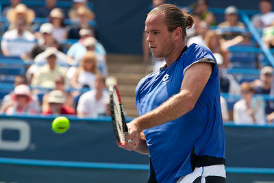 Belgian Xavier Malisse, pictured here, was defeated by Cyprus' Marcos Baghdatis in the Legg Mason Tennis Classic semifinals in Washington DC on August 7, 2010. Baghdatis recovered quickly after twisting his left ankle and ended unseeded Malisse's surprising run at the hard-court tournament.  (Photo by Jeff Malet)