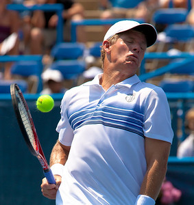 Mark Knowles of the Bahamas reacts instinctively to a hard shot at the net. He and partner Mardy Fish defeated Tomas Berdych of the Czech Republic and Radek Stepanek of the Czech Republic during the doubles final on day 7 of the Legg Mason Tennis Classic at the William H.G. FitzGerald Tennis Center on August 8, 2010 in Washington, DC. Fish  Knowles won the match 4-6,7-6(10).  (Photo by Jeff Malet)