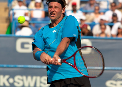 David Nalbandian of Argentina, ranked 117th, beat eighth-seeded Marcos Baghdatis of Cyprus, 6-2, 7-6 (4), in the Legg Mason Tennis Classic final Sunday in Washington, becoming the first player ranked outside the top 100 to win an ATP title this year. In addition to the $262,000 he collected for his 11th career title, Nalbandian is projected to surge 72 spots in the rankings-from 117 to 45. August 8, 2010.  (Photo by Jeff Malet)