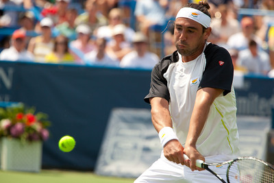 Marcos Baghdatis, pictured here, recovered quickly after twisting his left ankle in the Legg Mason Tennis Classic semifinals and ended unseeded Xavier Malisse's surprising run at the hard-court tournament in Washington DC on August 7, 2010.  (Photo by Jeff Malet)
