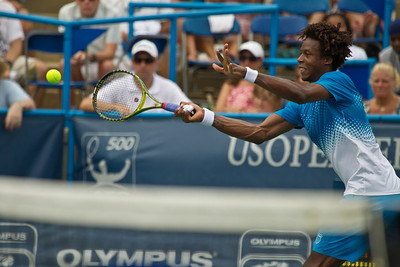Gael Monfils, of France, charges the net during a championship match against Radek Stepanek, of The Czech Republic, at the Legg Mason Tennis Classic, Sunday, Aug. 7, 2011, in Washington DC. The unseeded Stepanek upset the top seed Monfils in the finals in straight sets 6-4 6-4. The match was played at the William H.G. Fitzgerald Tennis Center in Rock Creek Park on hard court. (Photo by Jeff Malet)
