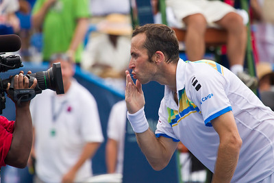 Radek Stepanek, of The Czech Republic, celebrates a victory by blowing a kiss to the camera at the successful conclusion of his championship tennis match against Gael Monfils, of France, at the Legg Mason Tennis Classic, Sunday, Aug. 7, 2011, in Washington DC. The unseeded Stepanek upset the top seed Monfils in the finals in straight sets 6-4 6-4. The match was played at the William H.G. Fitzgerald Tennis Center in Rock Creek Park on hard court. Stepanek earned a check for $264,000 for his fifth career title. Stepanek at 32 became the oldest winner of the ATP Washington Classic since Jimmy Connors in1988. (Photo by Jeff Malet)