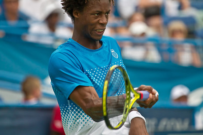 Gael Monfils, of France, returns the ball during a championship match against Radek Stepanek, of The Czech Republic, at the Legg Mason Tennis Classic, Sunday, Aug. 7, 2011, in Washington DC. The unseeded Stepanek upset the top seed Monfils in the finals in straight sets 6-4 6-4. The match was played at the William H.G. Fitzgerald Tennis Center in Rock Creek Park on hard court. (Photo by Jeff Malet)