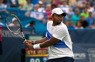 Donald Young returns the ball to Marcos Baghdatis, of Cyprus, during a tennis match at the Legg Mason Tennis Classic at the William H.G. FitzGerald Tennis Center in Rock Creek Park in Washington DC, Friday, August 5, 2011. The 22 year old Young won the quarterfinals match by the scores of 6-3, 7-6 (4). It was only Young's second quarterfinal on the top men's tennis circuit, and his first victory at that level. (Photo by Jeff Malet)