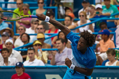Gael Monfils, of France, serves during a championship match against Radek Stepanek, of The Czech Republic, at the Legg Mason Tennis Classic, Sunday, Aug. 7, 2011, in Washington DC. The unseeded Stepanek upset the top seed Monfils in the finals in straight sets 6-4 6-4. The match was played at the William H.G. Fitzgerald Tennis Center in Rock Creek Park on hard court. (Photo by Jeff Malet)