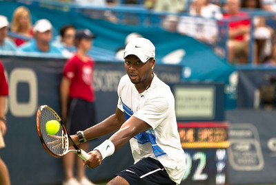 Donald Young (US) returns the ball to Marcos Baghdatis, of Cyprus, during a tennis match at the Legg Mason Tennis Classic at the William H.G. FitzGerald Tennis Center in Rock Creek Park in Washington DC, Friday, August 5, 2011. The 22 year old Young won the quarterfinals match by the scores of 6-3, 7-6 (4). It was only Young's second quarterfinal on the top men's tennis circuit, and his first victory at that level. (Photo by Jeff Malet)