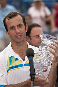 Radek Stepanek, of The Czech Republic, hold his trophy at the conclusion of his successful championship tennis match against Gael Monfils, of France, at the Legg Mason Tennis Classic, Sunday, Aug. 7, 2011, in Washington DC. The unseeded Stepanek upset the top seed Monfils in the finals in straight sets 6-4 6-4. The match was played at the William H.G. Fitzgerald Tennis Center in Rock Creek Park on hard court. Stepanek earned a check for $264,000 for his fifth career ATP title. Stepanek at 32 became the oldest winner of the ATP Washington Classic since Jimmy Connors in1988. (Photo by Jeff Malet)