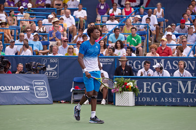 Gael Monfils, of France, shouts waits for a serve during a championship match against Radek Stepanek, of The Czech Republic, at the Legg Mason Tennis Classic, Sunday, Aug. 7, 2011, in Washington DC. The unseeded Stepanek upset the top seed Monfils in the finals in straight sets 6-4 6-4. The match was played at the William H.G. Fitzgerald Tennis Center in Rock Creek Park on hard court. (Photo by Jeff Malet)