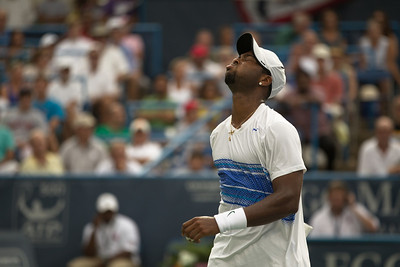 Donald Young (USA) winces after hitting the ball out against Marcos Baghdatis, of Cyprus, during a tennis match at the Legg Mason Tennis Classic at the William H.G. FitzGerald Tennis Center in Rock Creek Park in Washington DC, Friday, August 5, 2011. The 22 year old Young won the quarterfinals match by the scores of 6-3, 7-6 (4). It was only Young's second quarterfinal on the top men's tennis circuit, and his first victory at that level. (Photo by Jeff Malet)