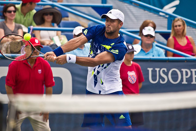 Fernando Verdasco, of Spain returns the ball to Radek Stepanek, of The Czech Republic during a tennis match, at the Legg Mason Tennis Classic, Friday, Aug. 5, 2011. The unseeded Stepanek upset the No. 5 seed Verdasco in the quarterfinals match in straight sets 6-4 6-4. The match was played at the William H.G. Fitzgerald Tennis Centre in Rock Creek Park in Washington DC on hard court. (Photo by Jeff Malet)