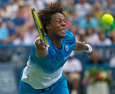 Gael Monfils, of France, lunges for the ball during a championship match against Radek Stepanek, of The Czech Republic, at the Legg Mason Tennis Classic, Sunday, Aug. 7, 2011, in Washington DC. The unseeded Stepanek upset the top seed Monfils in the finals in straight sets 6-4 6-4. The match was played at the William H.G. Fitzgerald Tennis Center in Rock Creek Park on hard court. (Photo by Jeff Malet)