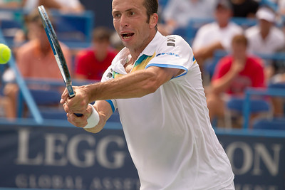 Radek Stepanek, of The Czech Republic, returns the ball during a tennis match against Fernando Verdasco, of Spain, at the Legg Mason Tennis Classic, Friday, Aug. 5, 2011, in Washington DC. The unseeded Stepanek upset the No. 5 seed Verdasco in the quarterfinals match 6-4 6-4. The match was played at the William H.G. Fitzgerald Tennis Centre in Rock Creek Park on hard court. (Photo by Jeff Malet)