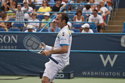 Radek Stepanek, of The Czech Republic, does a victory dance after winning his match point against Fernando Verdasco, of Spain, at the Legg Mason Tennis Classic, Friday, Aug. 5, 2011, in Washington DC. The unseeded Stepanek upset the No. 5 seed Verdasco in the quarterfinals match in straight sets 6-4 6-4. The match was played at the William H.G. Fitzgerald Tennis Centre in Rock Creek Park on hard court. (Photo by Jeff Malet)