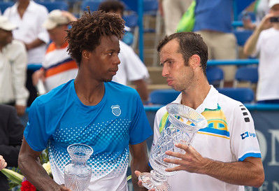Gael Monfils (left), of France, congratulates Radek Stepanek, of The Czech Republic, at the conclusion of the Legg Mason Tennis Classic, Sunday, Aug. 7, 2011, in Washington DC. The unseeded Stepanek upset the top seed Monfils in the finals in straight sets 6-4 6-4. The match was played at the William H.G. Fitzgerald Tennis Center in Rock Creek Park on hard court. (Photo by Jeff Malet)