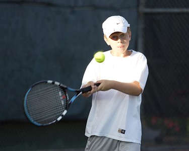 Anthony works his backhand