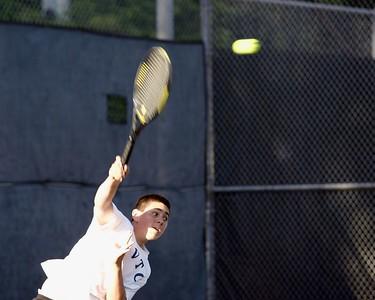 Randall cracks a big serve