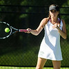 Nashoba's Kyra Fasano competes in the division 1 girls' tennis state championship against Wellesley on Wednesday afternoon. SENTINEL & ENTERPRISE / Ashley Green