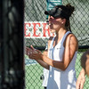 Nashoba's Jillian Winer cheers on teammates the division 1 girls' tennis state championship against Wellesley on Wednesday afternoon. SENTINEL & ENTERPRISE / Ashley Green