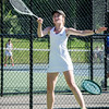 Nashoba's Cayla Murphy competes in the division 1 girls' tennis state championship against Wellesley on Wednesday afternoon. SENTINEL & ENTERPRISE / Ashley Green