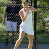 Nashoba's Jillian Winer competes in the division 1 girls' tennis state championship against Wellesley on Wednesday afternoon. SENTINEL & ENTERPRISE / Ashley Green