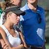 Nashoba's Jillian Winer in focuses on teammate Ari Sanjar's match during the division 1 girls' tennis state championship against Wellesley on Wednesday afternoon. SENTINEL & ENTERPRISE / Ashley Green