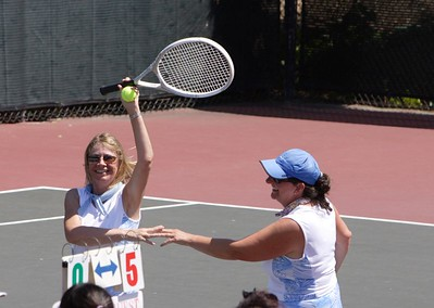 Marilyn and Amy celebrate a tight victory