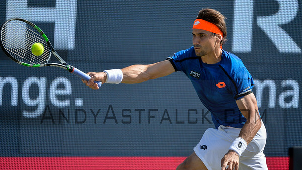 David Ferrer (ESP) returns a shot to Dudi Sela (ISR) on Thursday 9th of June 2016 at the Ricoh Open Grass Court Championships at the Autotron in Rosmalen in the Netherlands.