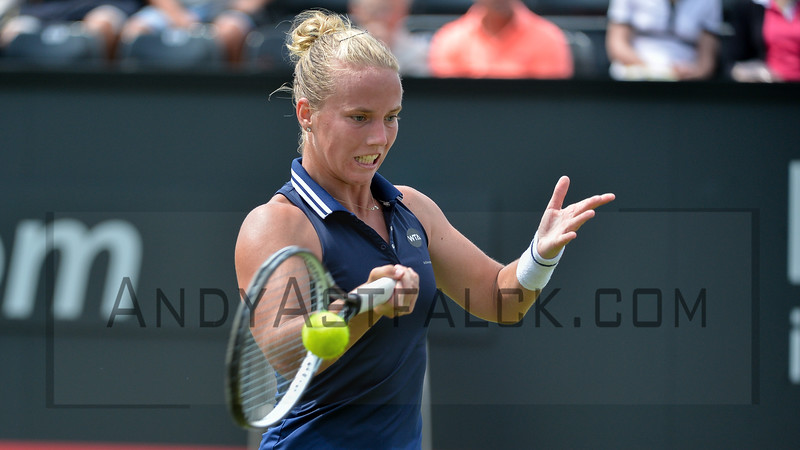 Richel Hogenkamp (NED) returns to Madison Brengle (USA) on Wednesday 8th of June 2016 at the Ricoh Open Grass Court Championships at the Autotron in Rosmalen in the Netherlands
