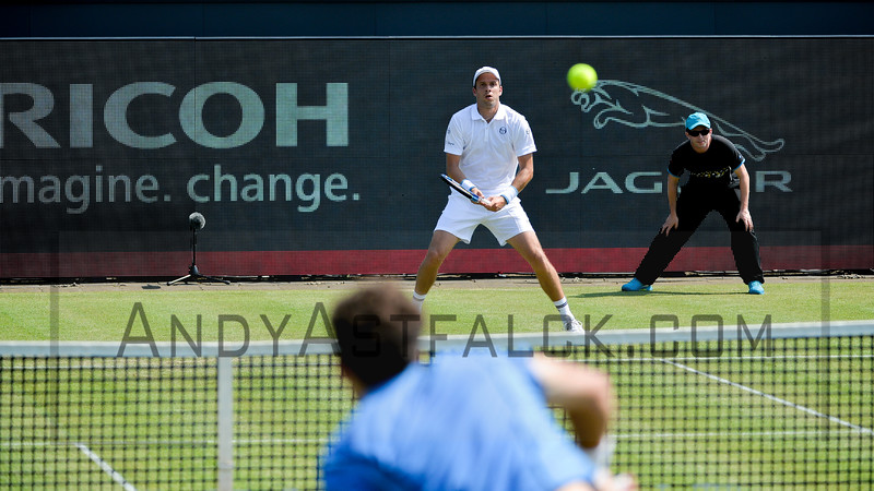 Robin Haase from the Netherlands serves to Gilles Muller from Luxembourg on Tuesday 7th of June 2016 at the Ricoh Open Grass Court Championships at the Autotron in Rosmalen in the Netherlands