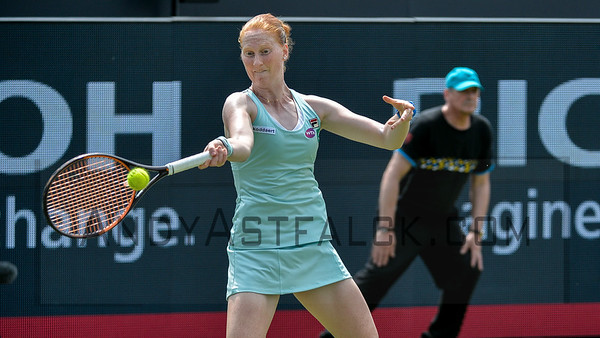 Alison van Uytvanck from Belgium  returns Swiss Belinda Bencic  serve on Tuesday 7th of June 2016 at the Ricoh Open Grass Court Championships at the Autotron in Rosmalen in the Netherlands