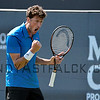 Robin Haase from the Netherlands celebrates a point during the 1st set tie break, against Gilles Muller from Luxembourg on Tuesday 7th of June 2016 at the Ricoh Open Grass Court Championships at the Autotron in Rosmalen in the Netherlands.