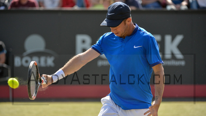 Dudi Sela (ISR) returns a shot to David Ferrer (ESP) on Thursday 9th of June 2016 at the Ricoh Open Grass Court Championships at the Autotron in Rosmalen in the Netherlands.