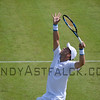 Gilles Muller from Luxembourg serves to Robin Haase from the Netherlands on Tuesday 7th of June 2016 at the Ricoh Open Grass Court Championships at the Autotron in Rosmalen in the Netherlands