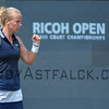 Richel Hogenkamp (NED) celebrates a point against Madison Brengle (USA) on Wednesday 8th of June 2016 at the Ricoh Open Grass Court Championships at the Autotron in Rosmalen in the Netherlands