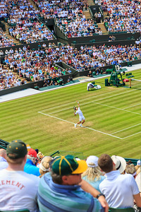 People watch Novak Djokovic play on a packed Court No 1, at the Wimbledon Tennis Championships 2017, All England Lawn Tennis and Croquet Club, UK