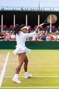 American tennis Player Serena Williams warms up for her match