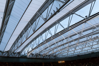 The retracting glass roof structure on Centre Court, Wimbledon