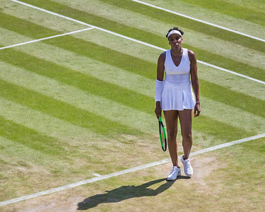 Venus Williams looks frustrated after losing a set to Kiki Bertens, round of 32 at Wimbledon 2018, London, UK
